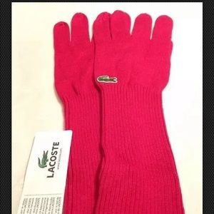 Lacoste Elongated Cotton~Wool Magenta Gloves
